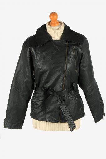 Women's Genuine Leather Jacket Zip Up Vintage Size S Black C2895