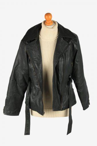 Women's Genuine Leather Jacket Zip Up Vintage Size S Black C2895-160870
