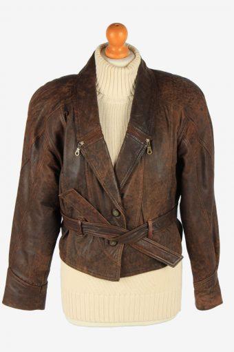 Women's Genuine Leather Jacket Button Up Vintage Size M Dark Brown C2900