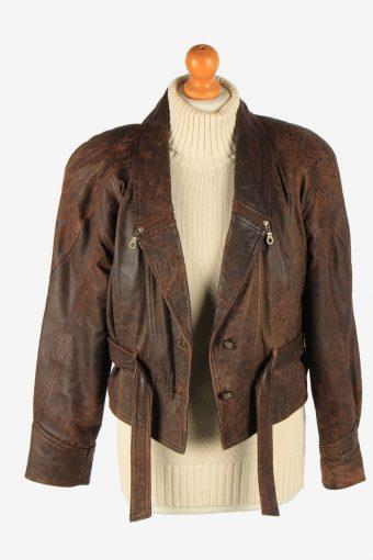 Women's Genuine Leather Jacket Button Up Vintage Size M Dark Brown C2900-160900