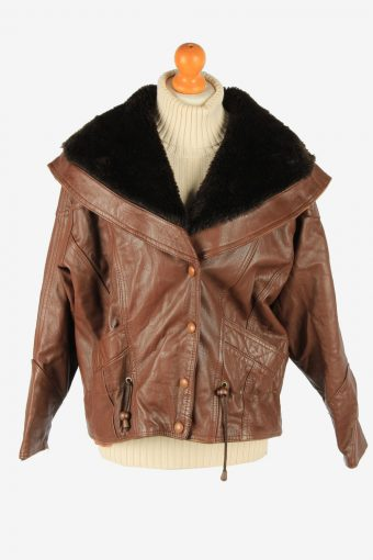 Women's Real Leather Jacket Snap Lined Vintage Size L Dark Brown C2901