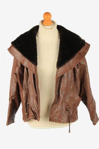 Women's Real Leather Jacket Snap Lined Vintage Size L Dark Brown C2901-160906