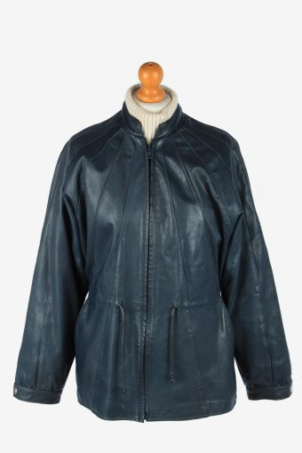 Women's Real Leather Jacket Zip Up Lined Vintage Size M Black C2902