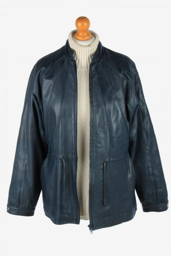 Women's Real Leather Jacket Zip Up Lined Vintage Size M Black C2902-160912