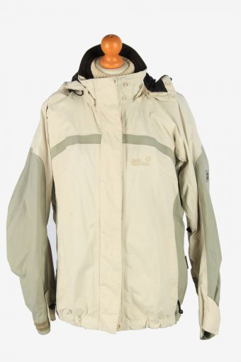 Jack Wolfskin Womens Waterproof Jacket Lightweight Vintage Size M Beige C2905