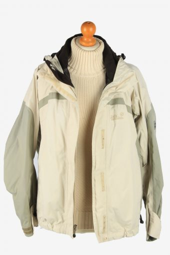 Jack Wolfskin Womens Waterproof Jacket Lightweight Vintage Size M Beige C2905-160930