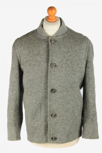 Mens Wool Knitted Coat Button Up Vintage Size M Grey C2936