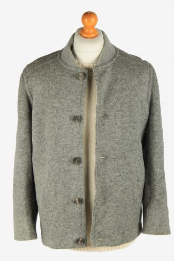 Mens Wool Knitted Coat Button Up Vintage Size M Grey C2936-162029