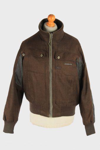 Mens Bomber Jacket Outdoor Zip Up Vintage Size L Dark Brown C2937