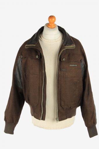 Mens Bomber Jacket Outdoor Zip Up Vintage Size L Dark Brown C2937-162035