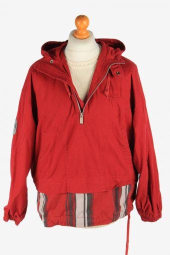 Mens Reebok Track Jacket Half Zip Hooded Vintage Size S Maroon C2942-162065