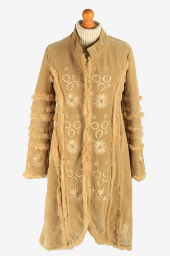 Womens Suede Sheepskin Coat Lined Vintage Size M Coffee C2943