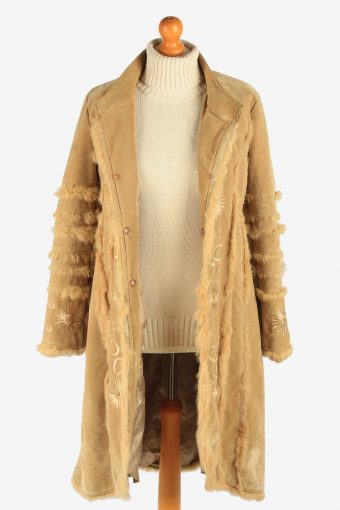 Womens Suede Sheepskin Coat Lined Vintage Size M Coffee C2943-162071