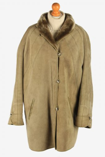 Womens Sheepskin Coat Fur Lined Button Up Vintage Size XL Green C2947