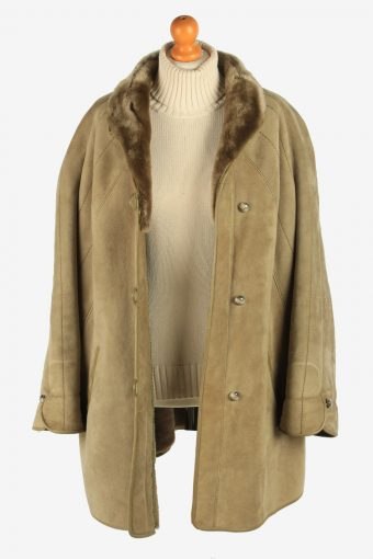Womens Sheepskin Coat Fur Lined Button Up Vintage Size XL Green C2947-162095