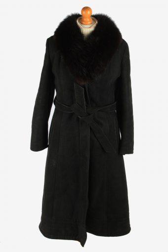 Womens Sheepskin Long Overcoat Fur Collar Vintage Size M Black C2948