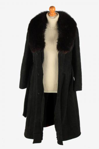 Womens Sheepskin Long Overcoat Fur Collar Vintage Size M Black C2948-162101