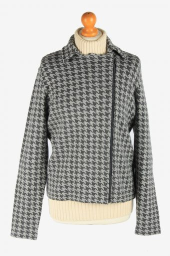 Women's Chaps Knitted Jacket Zip Up Vintage Size L Grey C2949