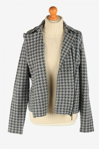 Women's Chaps Knitted Jacket Zip Up Vintage Size L Grey C2949-162135
