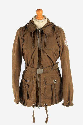 Women's Napapijri Coat Outdoor Hooded Vintage Size L Brown C2956