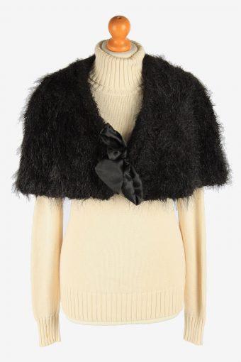 Women's Faux Fur Bolero Cape Lined Vintage Size L Black C2959