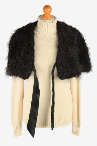 Women's Faux Fur Bolero Cape Lined Vintage Size L Black C2959-162193