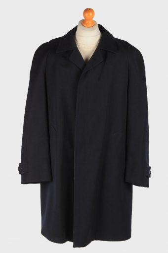 Men's Wool Coat Smart Button Up Vintage Size XXL Black C3016