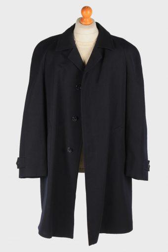 Men's Wool Coat Smart Button Up Vintage Size XXL Black C3016-163236