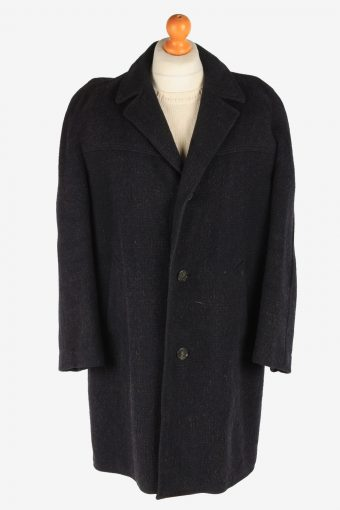 Men's Wool Coat Button Up Lined Vintage Size XXL Dark Navy C3017