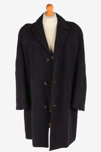 Men's Wool Coat Button Up Lined Vintage Size XXL Dark Navy C3017-163242