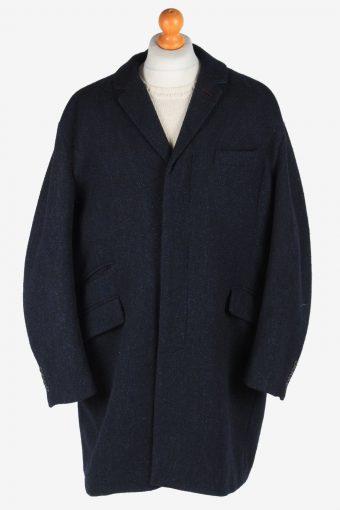 Men's Wool Coat Smart Lined Vintage Size XXL Dark Navy C3018