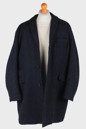 Men's Wool Coat Smart Lined Vintage Size XXL Dark Navy C3018-163248