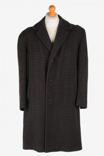 Men's Wool Coat Button Up Lined Vintage Size XXL Dark Brown C3019