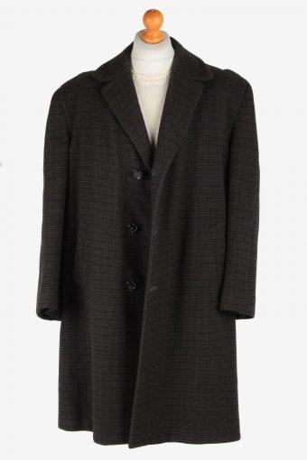 Men's Wool Coat Button Up Lined Vintage Size XXL Dark Brown C3019-163254