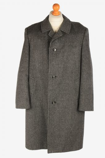 Men's Check Wool Coat Button Up Vintage Size XL Grey C3020