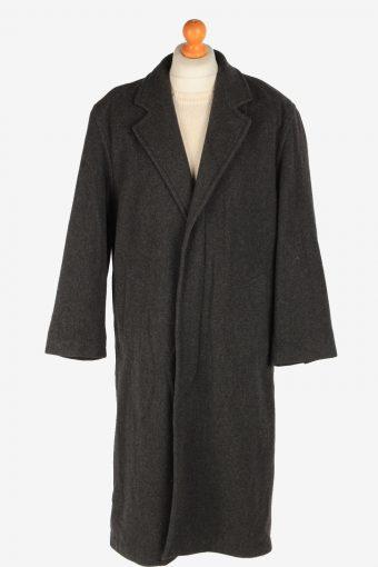 Men's Wool Long Coat Lined Vintage Size XL Dark Grey C3021