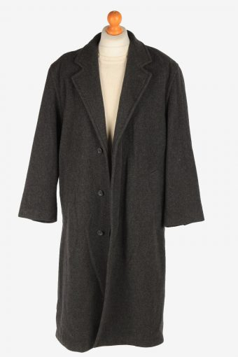 Men's Wool Long Coat Lined Vintage Size XL Dark Grey C3021-163266