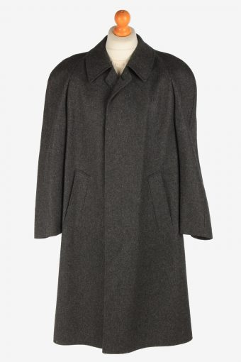 Men's Wool Coat Plain Button Up Vintage Size XL Dark Grey C3022