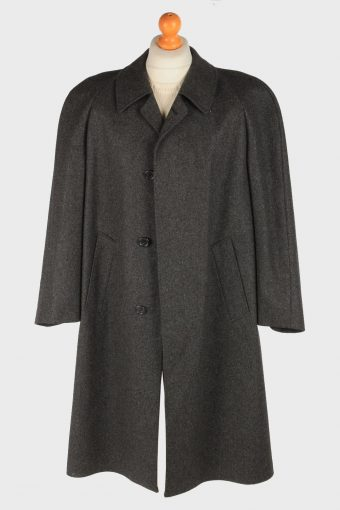 Men's Wool Coat Plain Button Up Vintage Size XL Dark Grey C3022-163272
