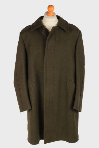 Men's Wool Coat Smart Button Up Vintage Size XXL Dark Grey C3023