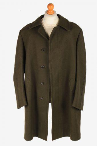 Men's Wool Coat Smart Button Up Vintage Size XXL Dark Grey C3023-163278