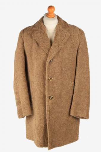 Men's Wool Coat Puffy  Button Up Lined Vintage Size XXL Light Brown C3025