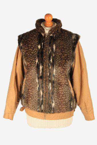Women's Fox Fur Bomber Jacket Zip Up Vintage Size M Brown C3027