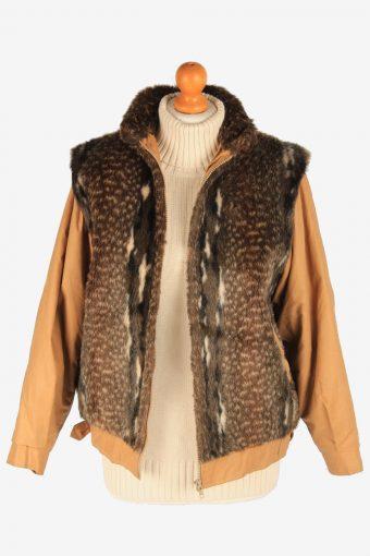 Women's Fox Fur Bomber Jacket Zip Up Vintage Size M Brown C3027-163302