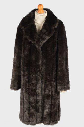 Women's Fur Coat Lined Lightweigt Vintage Size XL Dark Brown C3029
