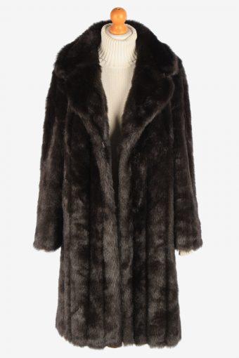 Women's Fur Coat Lined Lightweigt Vintage Size XL Dark Brown C3029-163314