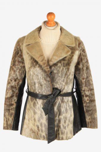 Women's Fur Coat With Beld Hooked Vintage Size M Multi C3030