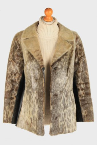 Women's Fur Coat With Beld Hooked Vintage Size M Multi C3030-163320