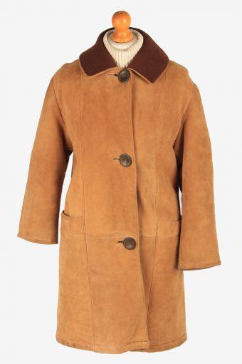 Women's Suede Coat Fur Lining Button Up Vintage Size L Camel C3031