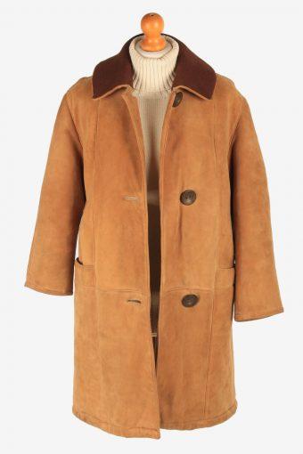 Women's Suede Coat Fur Lining Button Up Vintage Size L Camel C3031-163326